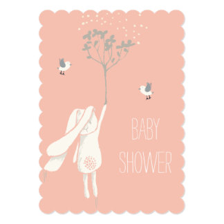 """Bunny On The Breeze Baby Shower 5"""" X 7"""" Invitation Card"""