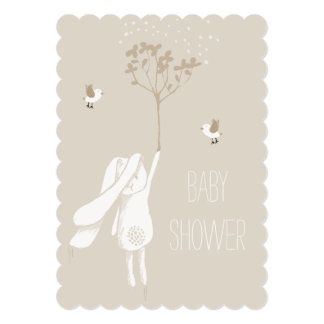 """Bunny On The Breeze Gender Neutral Baby Shower 5"""" X 7"""" Invitation Card"""