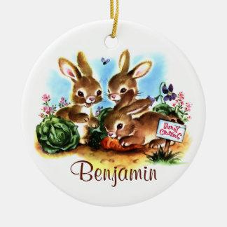 Bunny Patch Ceramic Ornament