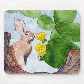 Bunny Peeking Through Cactus Mouse Pad