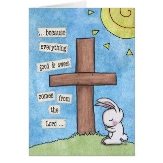 Bunny Prays At the Cross Card