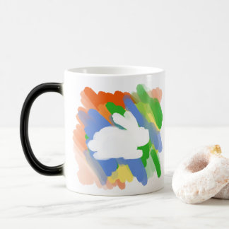 Bunny rabbit abstract colour art magic mug