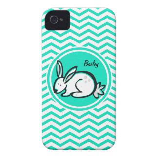 Bunny Rabbit Aqua Green Chevron iPhone 4 Case-Mate Cases