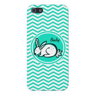 Bunny Rabbit Aqua Green Chevron Cases For iPhone 5