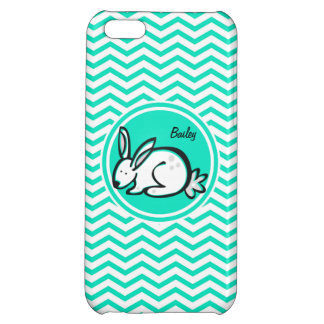 Bunny Rabbit Aqua Green Chevron Cover For iPhone 5C