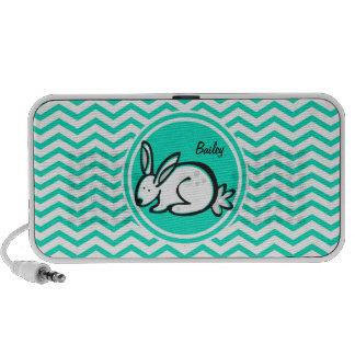 Bunny Rabbit Aqua Green Chevron iPhone Speaker