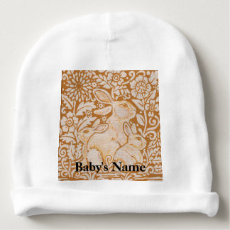 Bunny Rabbit Baby Beanie Hat Gold Vintage Sweet