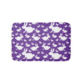Bunny Rabbit Bath Mat Purple and White