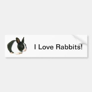 Bunny Rabbit Black White Bumper Sticker