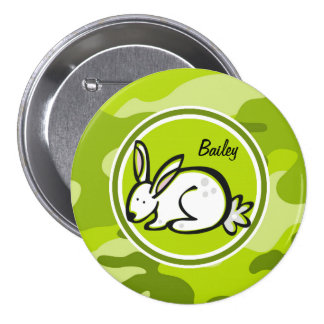 Bunny Rabbit bright green camo camouflage Buttons
