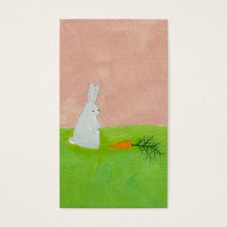 Bunny rabbit carrot cute fun original art painting business card