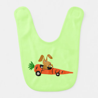 Bunny Rabbit Driving Carrot Car Baby Bib