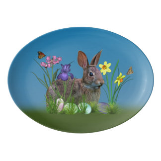 Bunny Rabbit,  Easter Eggs, and Flowers Porcelain Serving Platter
