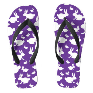 Bunny Rabbit Flip Flops Purple and White