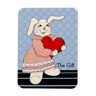 Bunny Rabbit Gives the Gift of Love Rectangular Photo Magnet