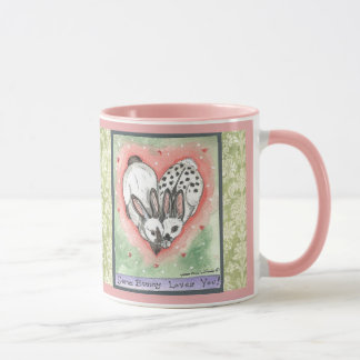 Bunny Rabbit Heart Pink Green Scroll Designer Mug