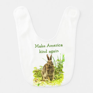 Bunny Rabbit Make America Kind Again Baby Bib
