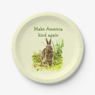 Bunny Rabbit Make America Kind Again Paper Plates