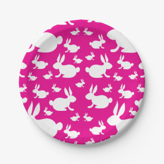 Bunny Rabbit Paper Plates Pink and White