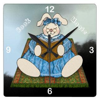 Bunny Rabbit Reads on a Book Magic Carpet Clock