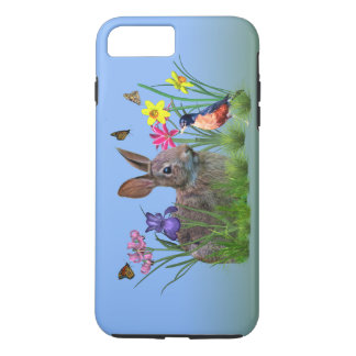 Bunny Rabbit,  Robin, and Flowers, Customizable iPhone 8 Plus/7 Plus Case
