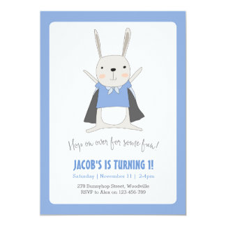 Bunny Rabbit Superhero Birthday Invitation