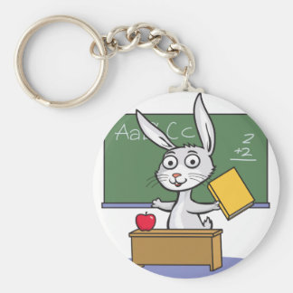 Bunny Rabbit Teacher Basic Round Button Keychain