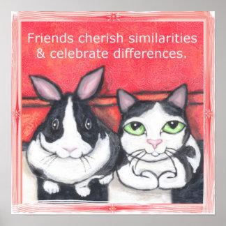 Bunny Rabbit & Tuxedo Cat Friends Poster