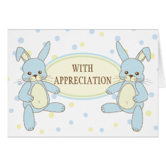 Bunny Rabbit Twins Thank You Notecard