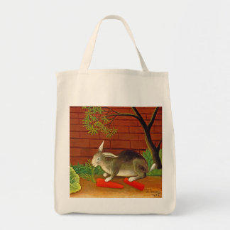 Bunny Rabbit Vintage Art Painting Canvas Bag