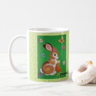 Bunny Rabbit with Carrot Green Personalized Mug