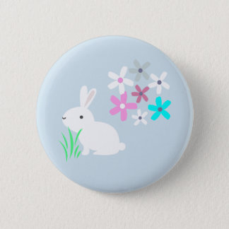Bunny Rabbit with Flowers Button Badge