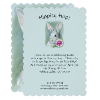 Bunny Rabbit with Pink Flower Pastel Easter Card