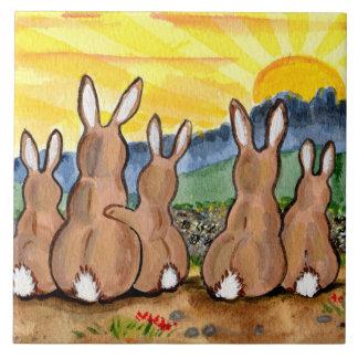 "Bunny Rabbit & Yellow Sunrise 6"" Tile Trivet"