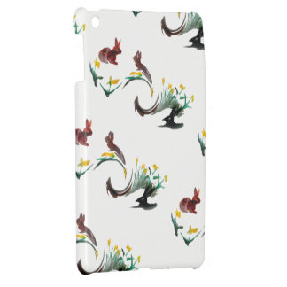 Bunny Rabbits and Flowers Abstract Pattern Cover For The iPad Mini