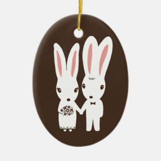 Bunny Rabbits Bride and Groom Wedding Keepsake Ceramic Ornament