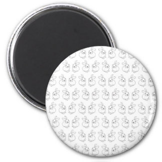 Bunny rabbits cute tatty hopping mad 2 inch round magnet