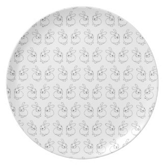 Bunny rabbits cute tatty hopping mad plate