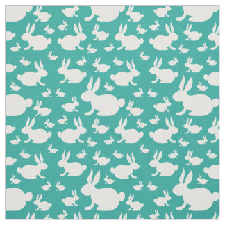 Bunny Rabbits Fabric Teal and White
