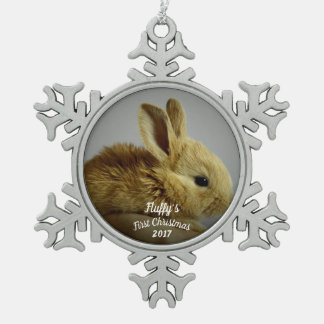 Bunny Rabbit's first Christmas with name + year Snowflake Pewter Christmas Ornament