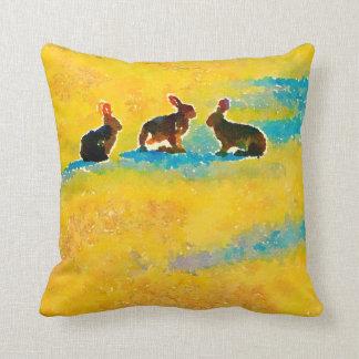 Bunny Rabbits on yellow Throw Pillow