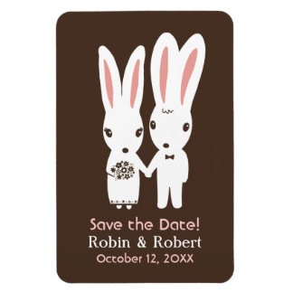 Bunny Rabbits Wedding Save the Date Magnet