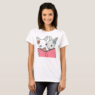Bunny reading book t-shirt book lover Gift Tee