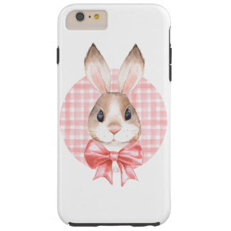 Bunny. Red bow Tough iPhone 6 Plus Case