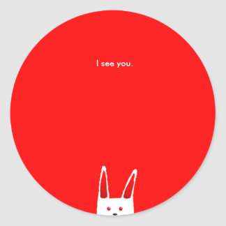Bunny Sees you Classic Round Sticker