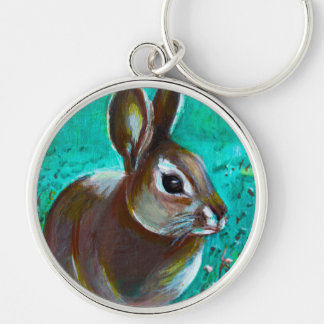 Bunny Silver-Colored Round Keychain