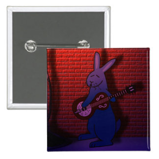 BUNNY SINGS THE BLUES 2 INCH SQUARE BUTTON