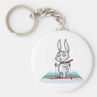 Bunny Skiing Keychain