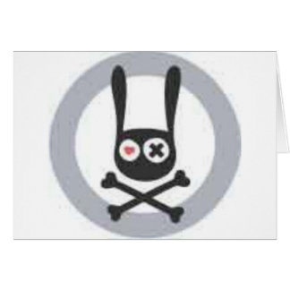 Bunny Skull and Crossbones with Heart and X Eye Card