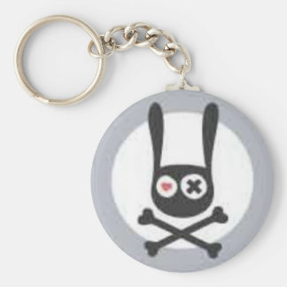 Bunny Skull and Crossbones with Heart and X Eye Keychain